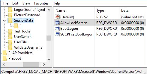 Одноразовое отключение экрана блокировки через реестр