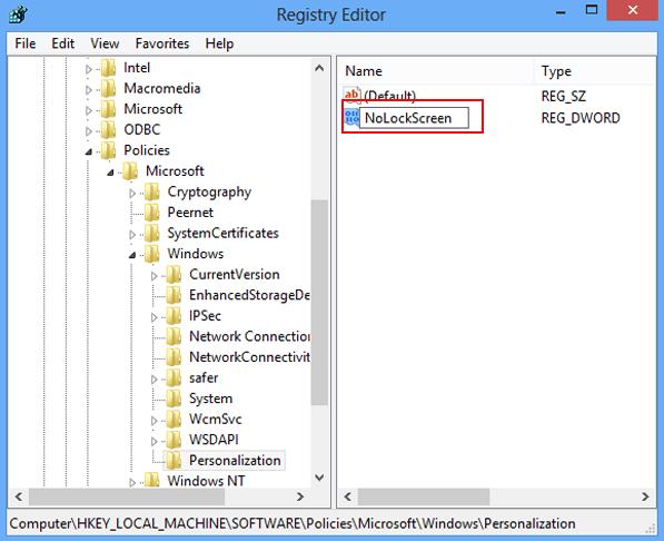 Создание параметра NoLockScreen