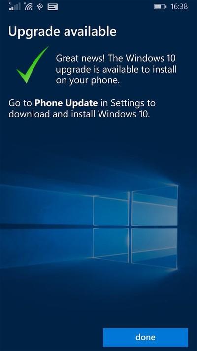 Положительный результат проверки доступности Windows 10 Modile для вашего телефона