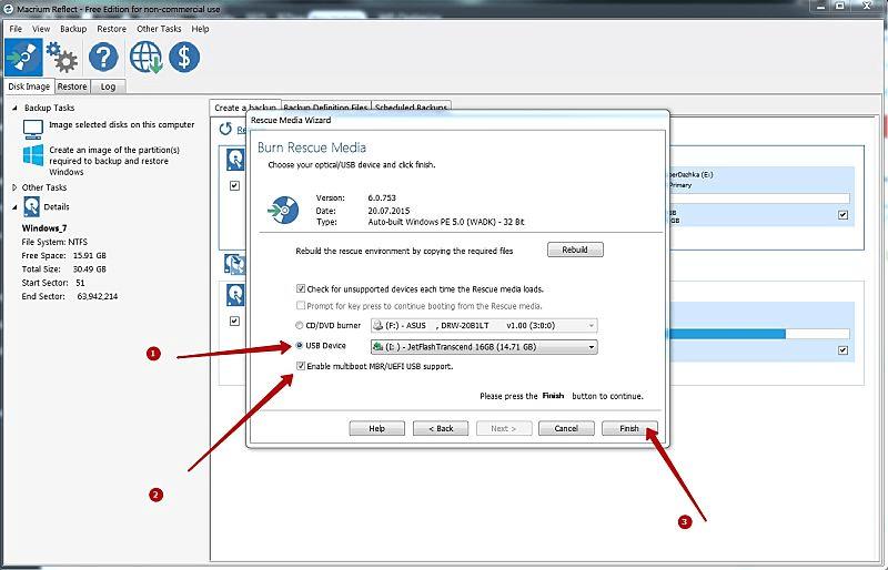 Настройки записи загрузчика Windows 10 на флешку в Macrium
