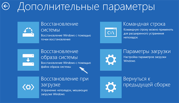 Пункт «Восстановление образа системы» в среде восстановления Windows 10