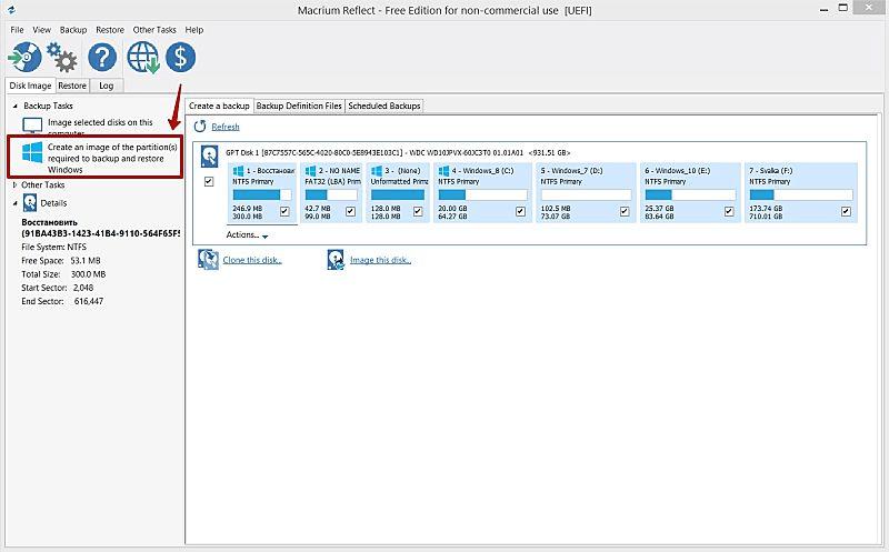 Вкладка «Создать образ разделов, требуемых для восстановления Windows» в Macrium