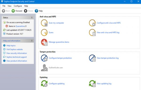 Sophos Endpoint Security and Control 10.7