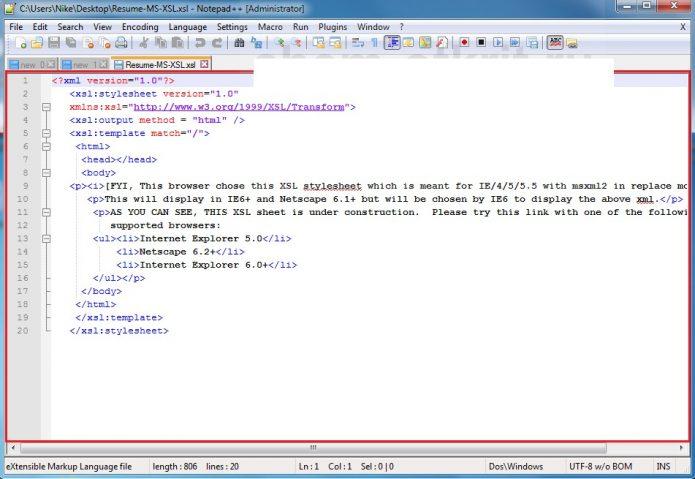 Рабочее окно редактора Notepad ++