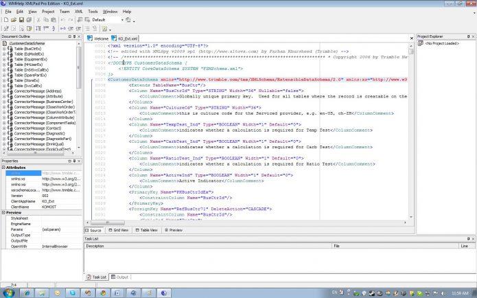 Рабочее окно XMLPad