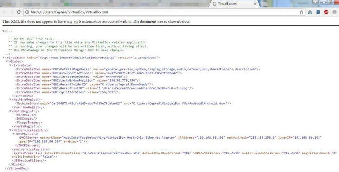 Окно просмотра XML-файлов в браузере Chrome