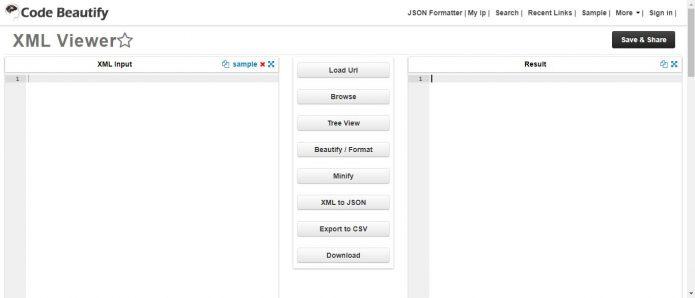 Рабочее окно Codebeautify.org/xmlviewer