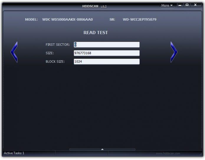 Настройка параметров тестирования в HDDScan