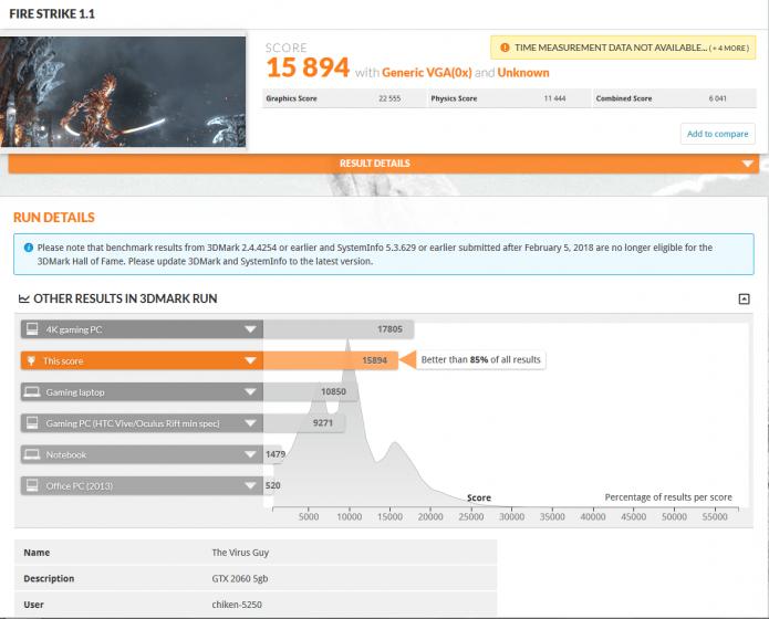 Результат Nvidia GeForce GTX 2060 в 3DMark