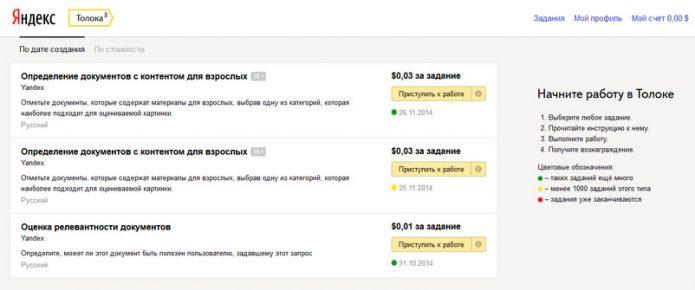 Задания на Яндекс Толоке