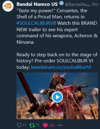 Пост в Twitter с объявлением Сервантеса