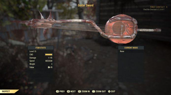Guitar Sword из Fallout 76