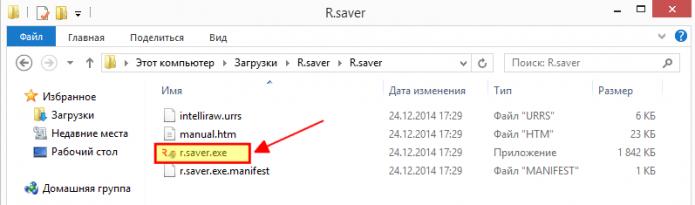 Распакованный установочный файл R.Saver