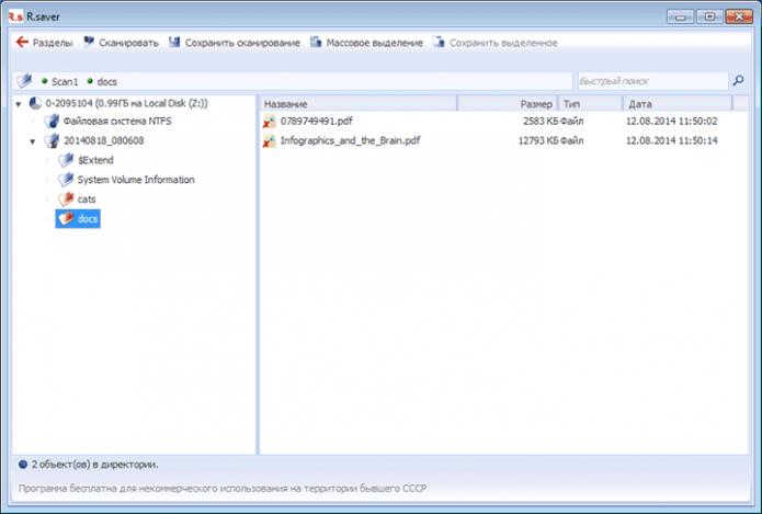 Найденные файлы в программе R.Saver