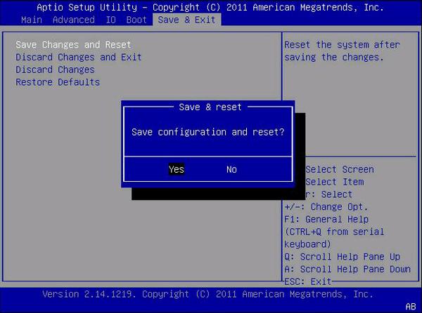 Сохранение настроек в BIOS