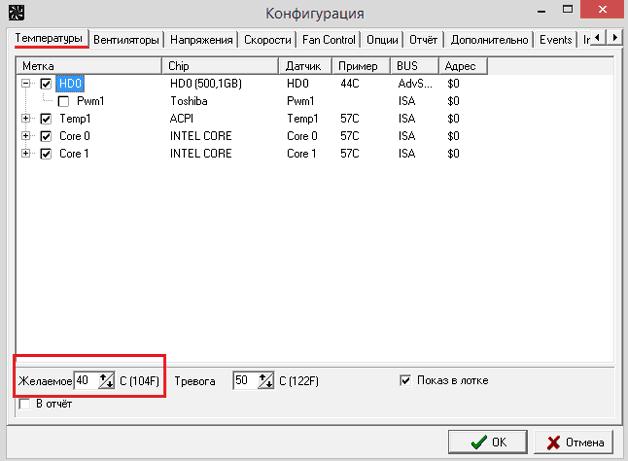 Раздел «Конфигурация» в программе SpeedFan