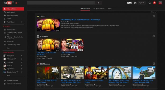 Темная тема YouTube