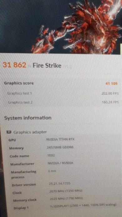 Результаты тестирования Nvidia Titan RTX в 3DMark Firestrike