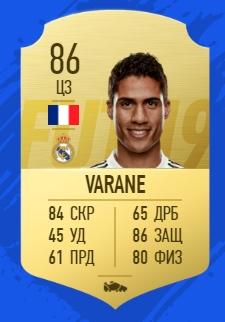 Карточка игрока Рафаэля Варана в FIFA 2019