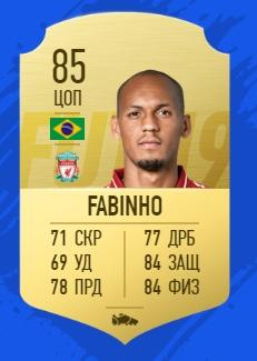 Карточка игрока Фабиньо в FIFA 19