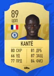 Карточка игрока Нголо Канте в FIFA 2019