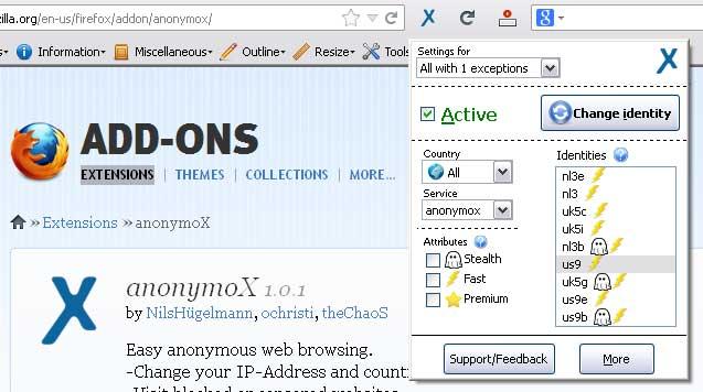 Расширение anonymoX