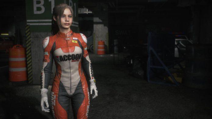 Клэр Уокер в мотоциклетном костюме в игре Resident Evil