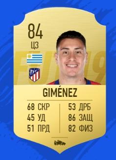 Карточка игрока Хосе Мария Хименес FIFA 19