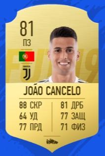 Карточка игрока Криштиано Роналду Жао Канселу в FIFA 19