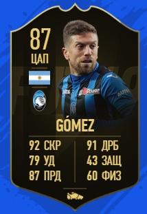 Карточка игрока Алехандро Гомез в FIFA 19