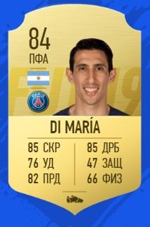 Карточка игрока Анхель ди Мария в FIFA 19