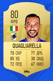 Карточка игрока Фабио Квальярелла из Сампдории в FIFA 19