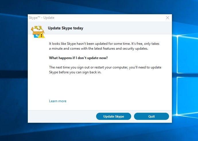 Уведомление о необходимости обновить Skype