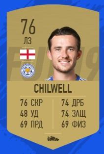 Карточка игрока Бена Чилвелла в FIFA 19