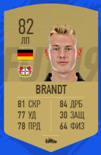 Карточка игрока Юлиана Брандта в FIFA 19