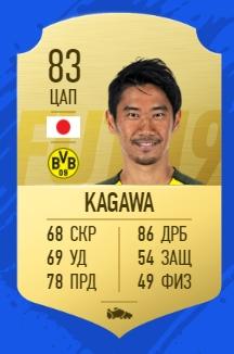 Карточка игрока Синдзи Кагавы в FIFA 19