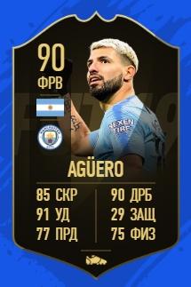 Карточка игрока Серхио Агуэро в FIFA 19