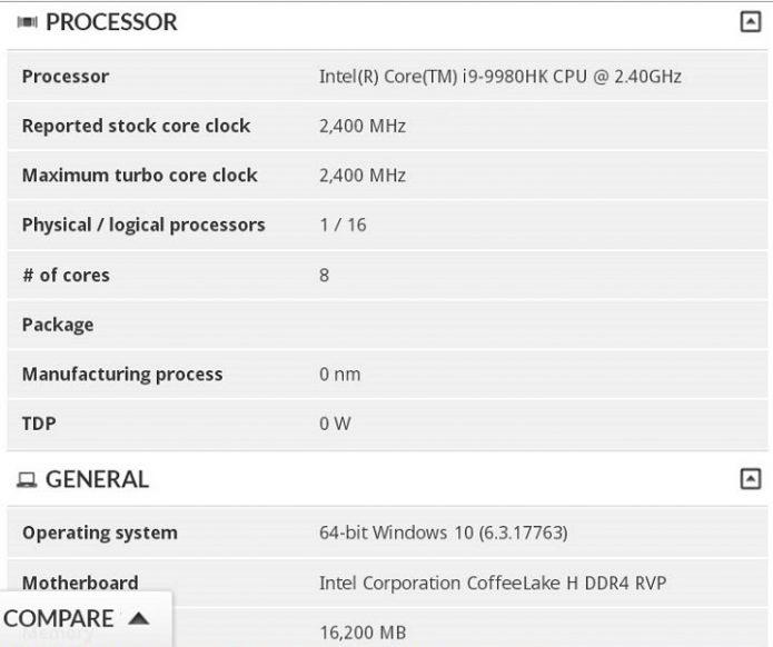 Intel Core i9–9980HK в базе данных 3DMark