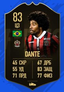 Карточка игрока Данте в FIFA19