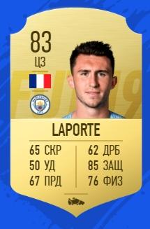 Карточка игрока Эмерика Ляпорты в FIFA 19