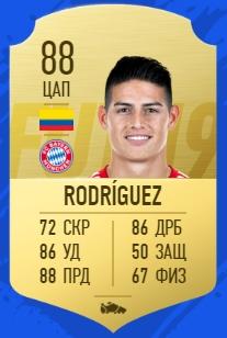 Карточка игрока Хамеса Родригеза в FIFA 19