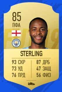 Карточка игрока Рахима Стерлина в FIFA 19