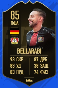 Карточка игрока Карима Беллараби в FIFA 19