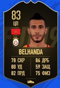 Карточка игрока Юнеса Беланда в FIFA 19