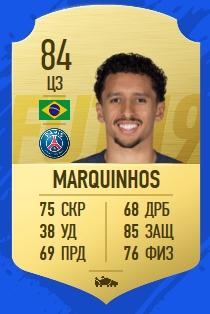 Карточка игрока Маркиньоса в FIFA 19