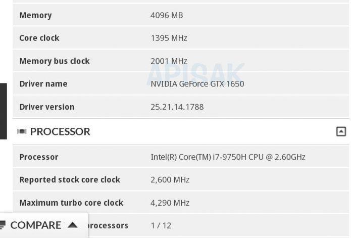Характеристики мобильной версии Nvidia GeForce GTX 1650