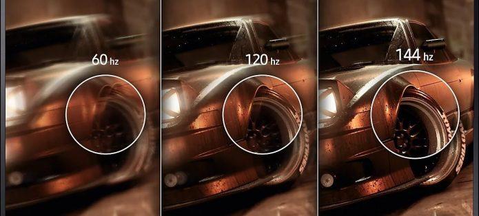 Качество изображения при разной частоте обновления