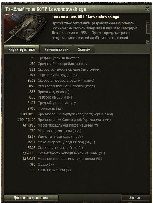 Описание 60TP Lewandowskiego в World of Tanks