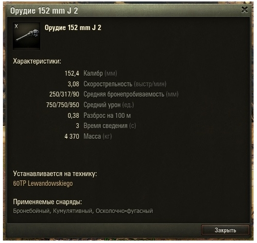 Описание орудия в World of Tanks
