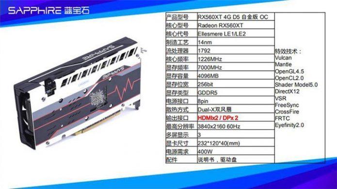 Характеристики AMD Radeon RX 560XT